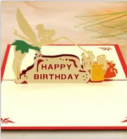 Wholesale 3d Handmade Fairy Birthday Greeting Cards Girls Birthday Party Invitation Cards Red and Blue Two Colors