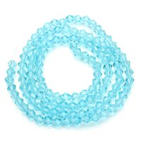 Wholesale 3strand mm Sky Blue Faceted Crystal Glass Rhinestone Rondelle Bicone Beads DIY For Jewelry Making F2345