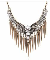 Wholesale 2016 New Fashion Retro Punk Rivet Crystal Tassel Pendant Statement Bib Chain Necklace