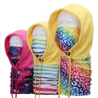 Wholesale New Winter Outdoor Mens Thermal Fleece Hood Ski Bike Winter Windproof Face Mask Floral Flame Beanie Caps