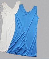 Wholesale China Silk Sleepshirt nightgown Strape Sleepwear Natural Mulberry Silk Made Soft Solid Slip V neck piece
