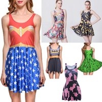 Wholesale NEW Sexy Girl Women Summer Superhero Supermen Batman D Prints Reversible Sleeveless Skater Pleated Dress Plus size