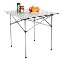 aluminum roll table - 28 quot x28 quot Roll Up Portable Folding Camping Square Aluminum Picnic Table w Bag New