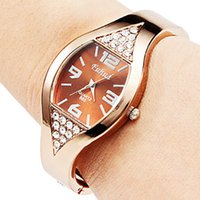 bangle watches - Fashion High grade Ladies Rose Gold Bracelet Watch Bangle Rhinestone Crystal WristWatch Working Women Watch Luxury Watches