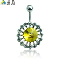 belly button piercing price - Price Brand New High Quality Fashion Color Crystal Flowers Belly Button Rings for Women Body Piercing Jewelry