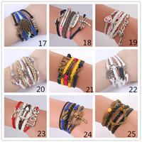 achat en gros de charmes de bronze infini-55 Styles Infinity Charm Bracelets Multicouleur Bracelets en cuir tissé Antiquités Croix Ancre Love Peach Tricoter Bronze Diy Charm Bracelets