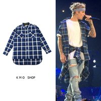 Wholesale tartan clothing star mens t shirts fashion justin bieber mens designer clothes fog flannel plaid men extended shirt
