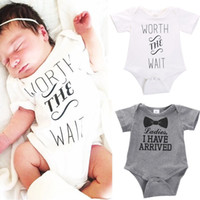 Wholesale Newborn Baby Boys Girls Bowtie Short Sleeve Romper Bodysuit Playsuit Outfits