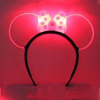 big plastic ears - Fashion Cool Mickey Mouse Ears Light Up Bow Headbands Flashing Party Favors LED Light Rave Toys Gift