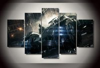 batmobile pictures - 5Pcs With Framed Printed batman arkham knight batmobile Group Painting room decor print poster picture canvas black and red