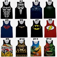 Wholesale Super Hero Tank Tops Basketball Jersey Undershirt Fitness Gym Vest GymShark Tank Tops with Bat Man for Men V1