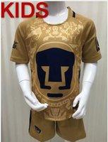 Wholesale kids Thailand Quality Mexico Pumas UNAM Home Gold jerseys camisetas de futbol Cougar soccer uniforms kit