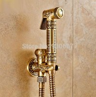 Wholesale Retro Style Antique Brass Bathroom Flower Carving Wall Mounted Bidet Faucet