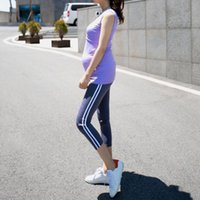 Wholesale Maternity Clothes Pregnant Women Sports Pants Adjustable Cropped Trousers