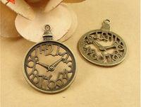 alarm clock parts - A1104 MM Antique Bronze Retro alarm Clock charm Part DIY handmade jewelry accessories little carved vivid lovely pendant