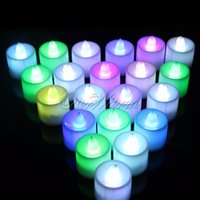battery powered tealight - 2015 Plastic Flameless Colorful Flickering LED Candle Light Tealight Lamp Battery powered for Birthday Party Decoration