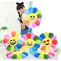 Wholesale 14 Styles cm Soft Emoji Smiley Emoticon Yellow Round Cushion Throw Pillow Sofa Stuffed Plush Toy Doll For Cute Home Decoration