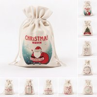 Wholesale Christmas Gift Bag Household Storage Bag Rope Pulling Bag Large Canvas Santa Sack Color Elk Organic Heavy CanvasBag W5 DHL OR SF EXPRESS