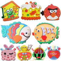 Wholesale DIY Educational toys gift EVA baby hand Handmade Felt Fabric Craft Kits Toys Pen Container for Kids