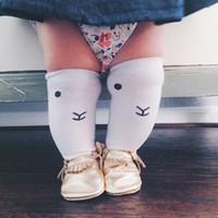 INS nuevos niños calcetines niñas blanco oso caricatura cara calcetines niños algodón calcetines pierna niños calcetines niños rodilla BOOT calcetines altos A8067
