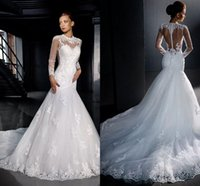 Wholesale Sexy Wedding Dresses Long Sleeve Sexy High Neck Covered Button Applique Pleats Cathedral Train Lace Bridal Gowns yo93