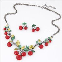 Wholesale Hot selling Beautiful Red Cherry Necklace with Earrings Stud Jewelry Set Girls Party Popular Cherry Earrings and Necklace