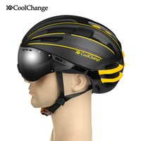 Wholesale CoolChange MTB helmet with goggles glasses men and women cycling equipment integrally molded helmet Professional head protectors