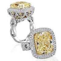 Wholesale 4 ct GIA Cushion K White Halo Engagement Ring Fancy VS1