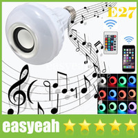 Wholesale 2016 Fashion LED RGB Color Bulbs Lights Changeable Lamps E27 Smart Speaker Wireless Bluetooth Remote Control Music Audio Speaker CE ROHS UL