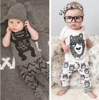 bear suits - 2015 Cute Baby Girls Boys summer Outfits Set infant Cartoon Bowtie Bear Little monster Cotton Tops Harem Pants clothing sets Suits