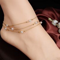 Wholesale Multilayer copper bead chain Pearl Anklet Bracelet Vintage K Gold Plated Summer Barefoot Sandals Foot Jewelry