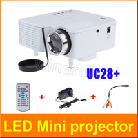 Wholesale UC28 Projector Mini LED Portable Theater Video Projector PC Laptop VGA USB SD AV digital pocket home cinema with Retail Package Free DHL