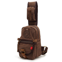 Wholesale day pack Men s Vintage Canvas Leather Chest pack School Shoulder crossbody Bag outdoor backpack