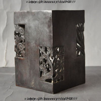 bamboo brush pot - Christmas Marked Chinese pure bronze Plum Orchid Bamboo Daisy brush pot pencil vase jar Halloween