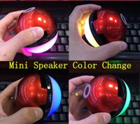 ar china - Poke Ball Bluetooth Speaker Music LED Poke Go For Go AR Games Portable Wireless Bluetooth ball colorful lights Poke Mon for iPhone plus