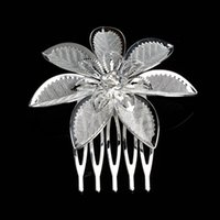 Wholesale 1 Pair flowers Silver Plated Crystal Flower Bridal Tiara Mini Hair Comb Pin