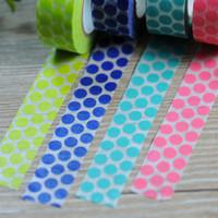 Wholesale New x Polka Dots Japanese Washi Tape Paper Sticker Office Adhesive Tape Decorative Masking Tape M Green Blue Aqua Pink