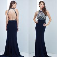 bead art patterns - 2016 Custom Sexy navy blue women Elegant evening dresses grace karin Sheath Jewel Backless formal Beads Sequins Halter Party dress QW723