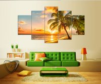 beach watercolor paintings - 5 Piece Sunset Seascape Inclued Coco Beach Modern H Wall Art HD Picture Canvas Print Painting For Living Room Decor F