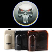 accent kit - Wireless Universal Car Projection LED Projector Door Shadow Logo Light Welcome Lamps Courtesy Lights Kit Magnet Sensor White Skull