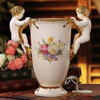 artwork angels - European style palace of luxury living room home decor artwork ivory porcelain angel ornaments gilt vase JC1061