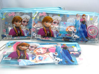 Wholesale Brand New FROZEN Anna and Elsa IN kids cartoon Stationery Set Pencils Ruler Notebook Eraser Pencil Sharpener