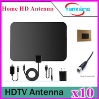Wholesale 10pcs Amplified TV Antenna ANTRobut Miles Range Super Thin Indoor TV Antenna YX TX