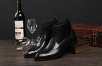 ankle boo - New arrivals Carving British short boots Block boots business dress shoes summer fall leather boots men Martin boot high help boo