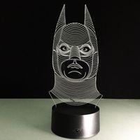 No bats eggs - 2017 Bat man D Optical Illusion Lamp Night Light DC V USB AA Battery Dropshipping Retail Box