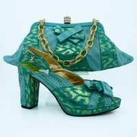 Women aqua pumps shoes - Elegant aqua ladies pumps with rhinestone and bowtie african shoes match handbag set for party CP63008 heel CM