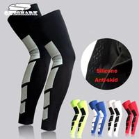 Wholesale 1PC Professional Sports Men Silicone Antiskid Long Knee Support Brace Pad Protector Sport Basketball Leg Sleeve Sports Kneepad