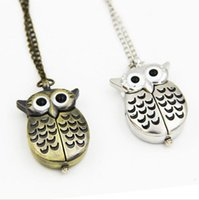 Other watches analog keys - Owl pocket watch necklace quartz watch key chain watch bronze antique pendant necklace sent a174