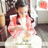 Wholesale Amber berry Y Girls fashion long sleeved jackets autumn kids jacket girls coat Children s turn down collar spring cloth princess ba