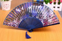 antique cherry wood - Japanese cherry blossom silk fan feng Bamboo and wood antique silk fan Small mini folding fans